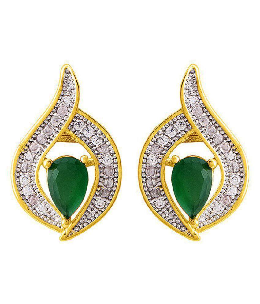 Voylla  Designer Green CZ Graced Earrings  For Women