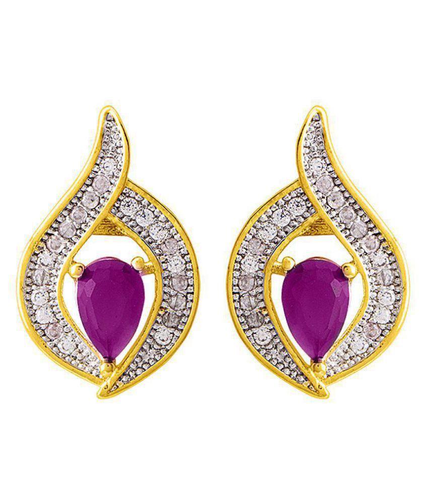 Voylla  Designer Pink CZ Graced Earrings  For Women