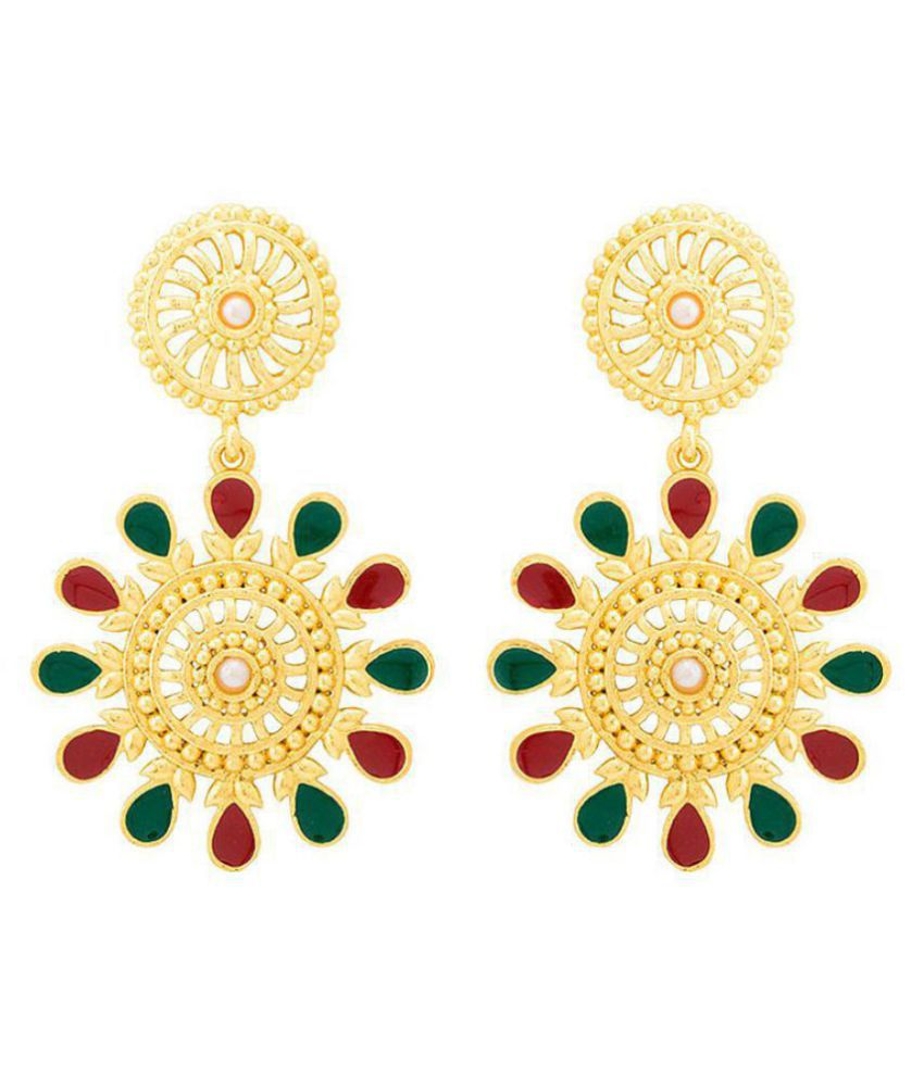 Voylla  Rich Gold Plated Dangler Earrings For Women