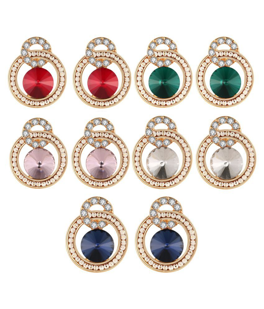 Jewels Galaxy Luxuria Edition Glittering Colors Turquoise Stone Stunning Gold Plated Earrings Combo For Women/Girls - Combo Of 5