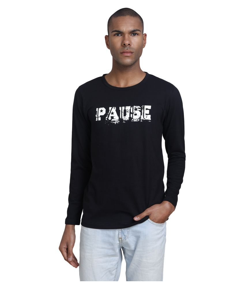PAUSE Black Round T-Shirt Pack of 1