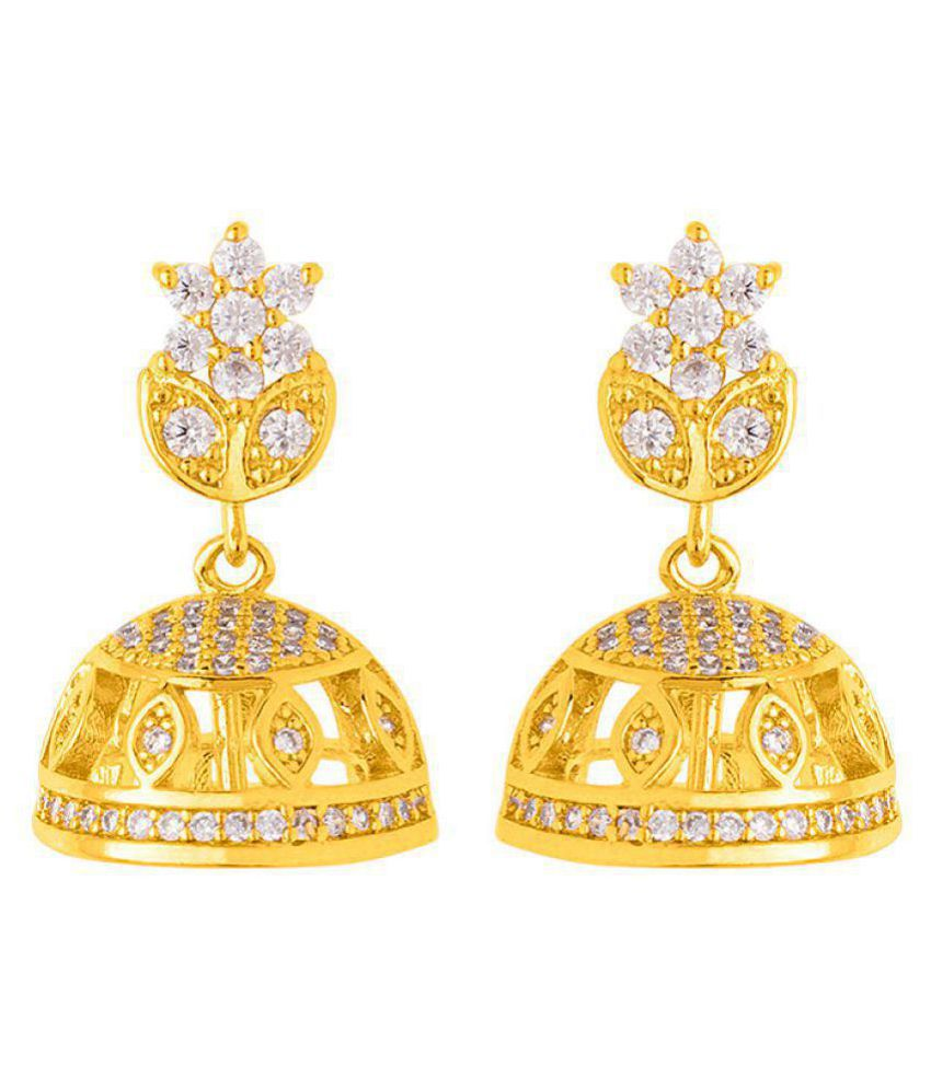Voylla Delicate Gold Plated Floral Jhumka Earrings