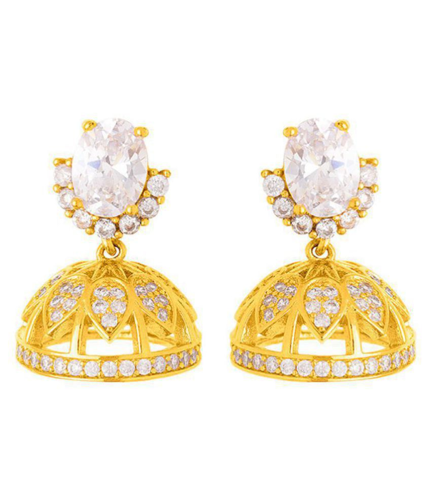 Voylla Exquisite White CZ Embellished Jhumka Earrings