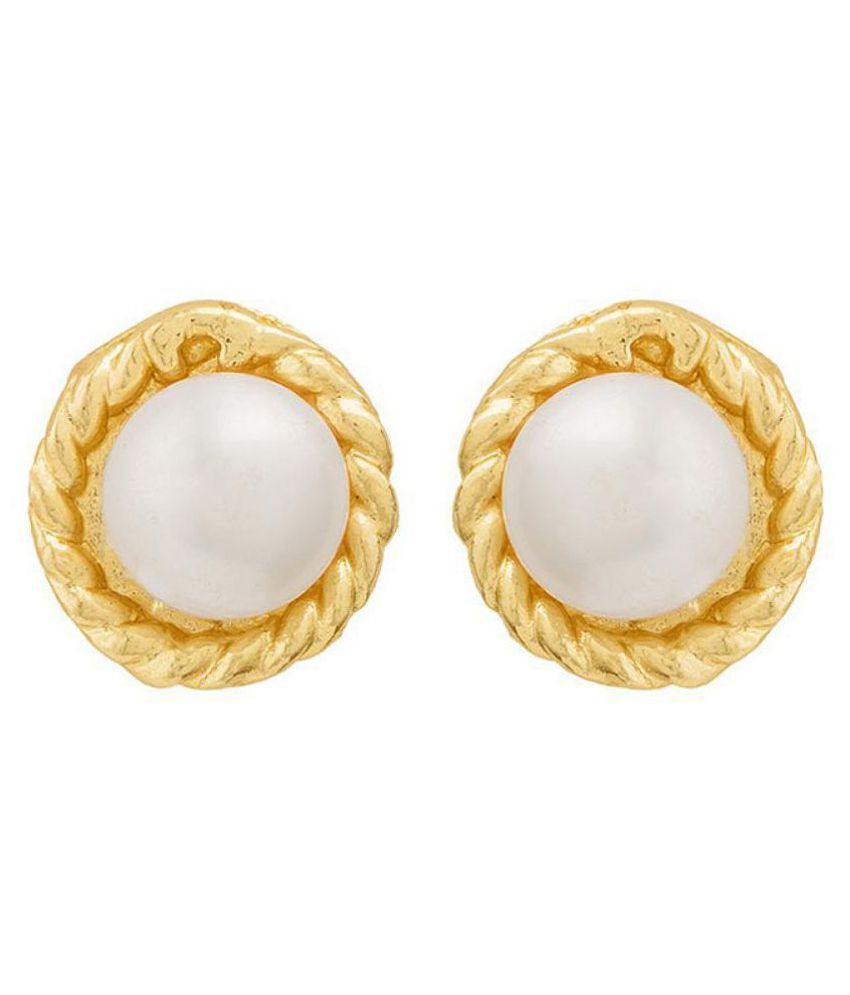 Voylla Pearl Graced Stud Earrings