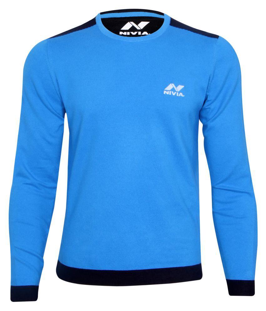 Nivia Blue Round Neck Sweater