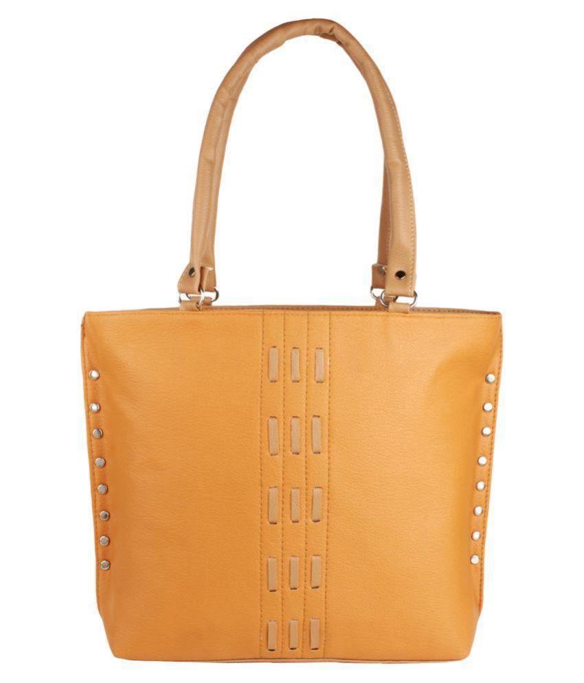 eklavya Light Yellow P.U. Shoulder Bag