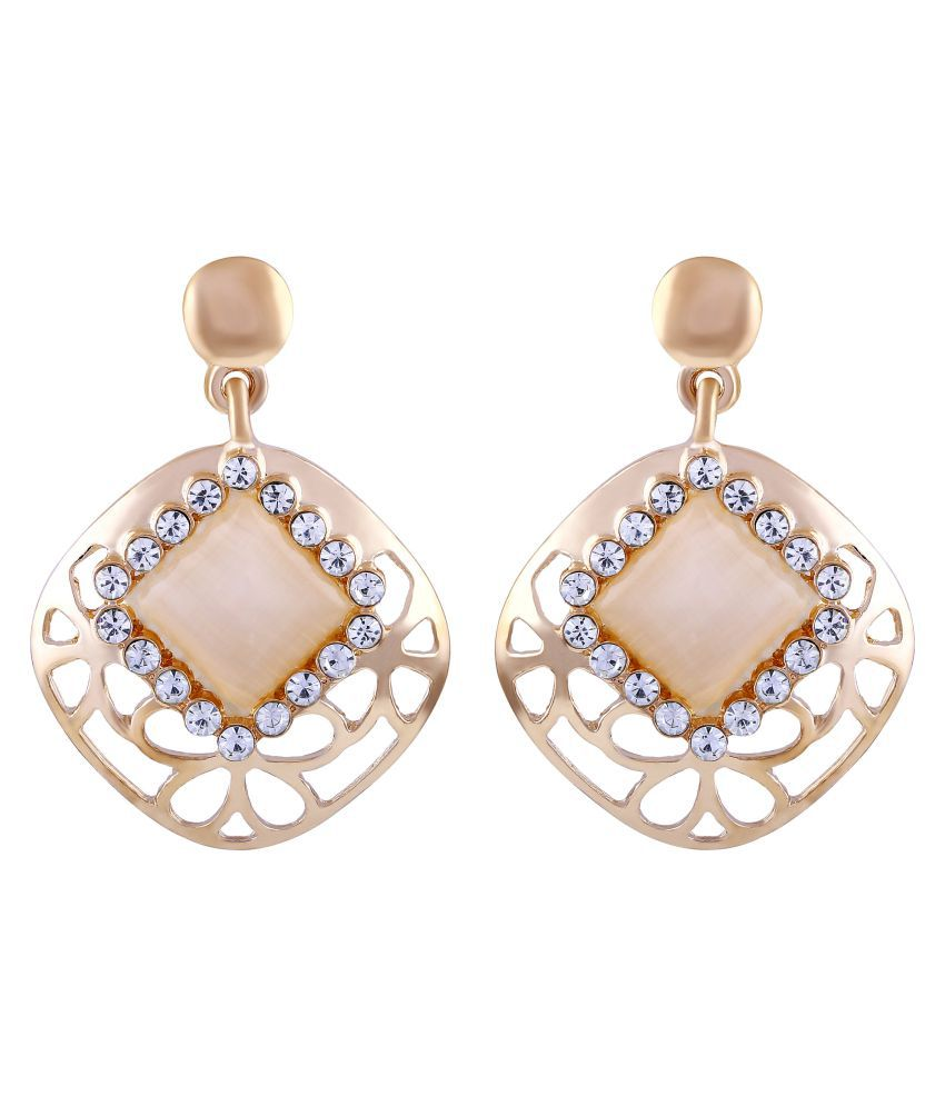 Asmitta Incredible Square Shape With Crystal Gold Plated Dangle Earring For Women