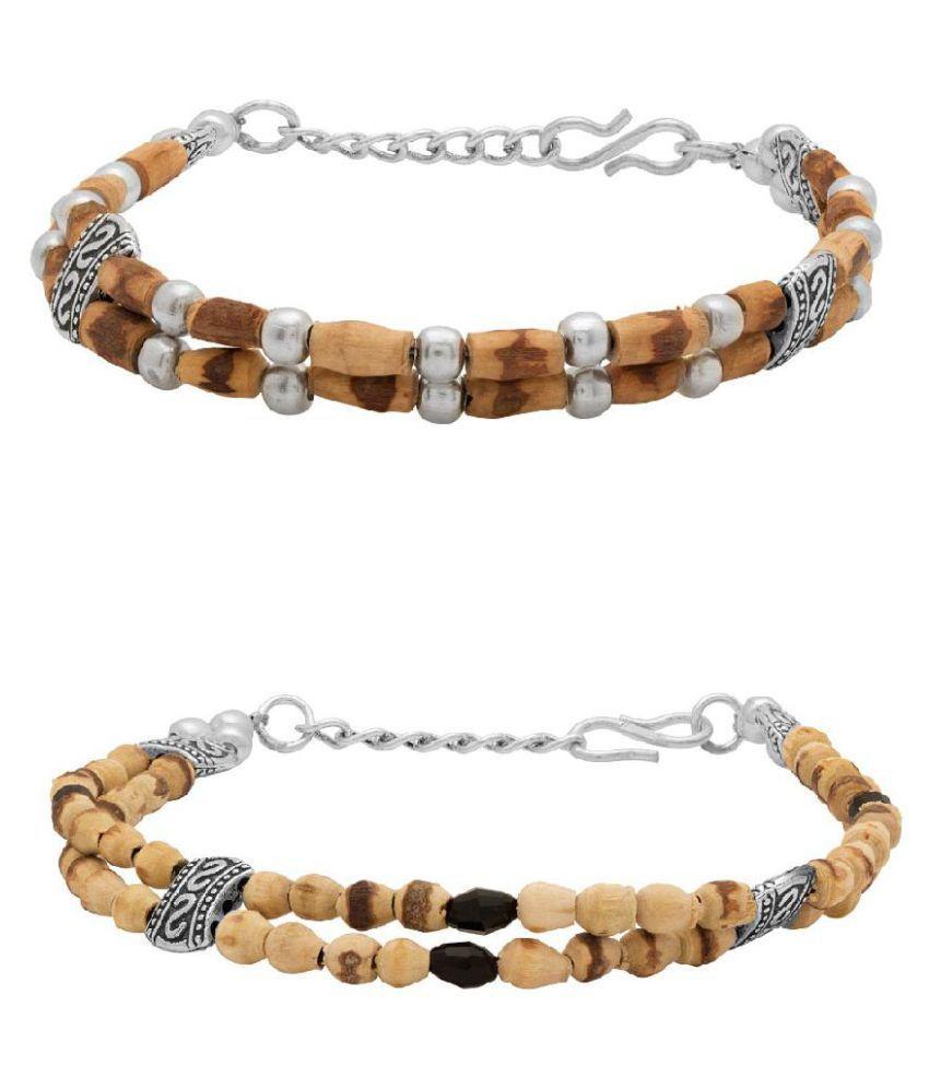Voylla Duo Of Tulsi Beads Bracelets for Men