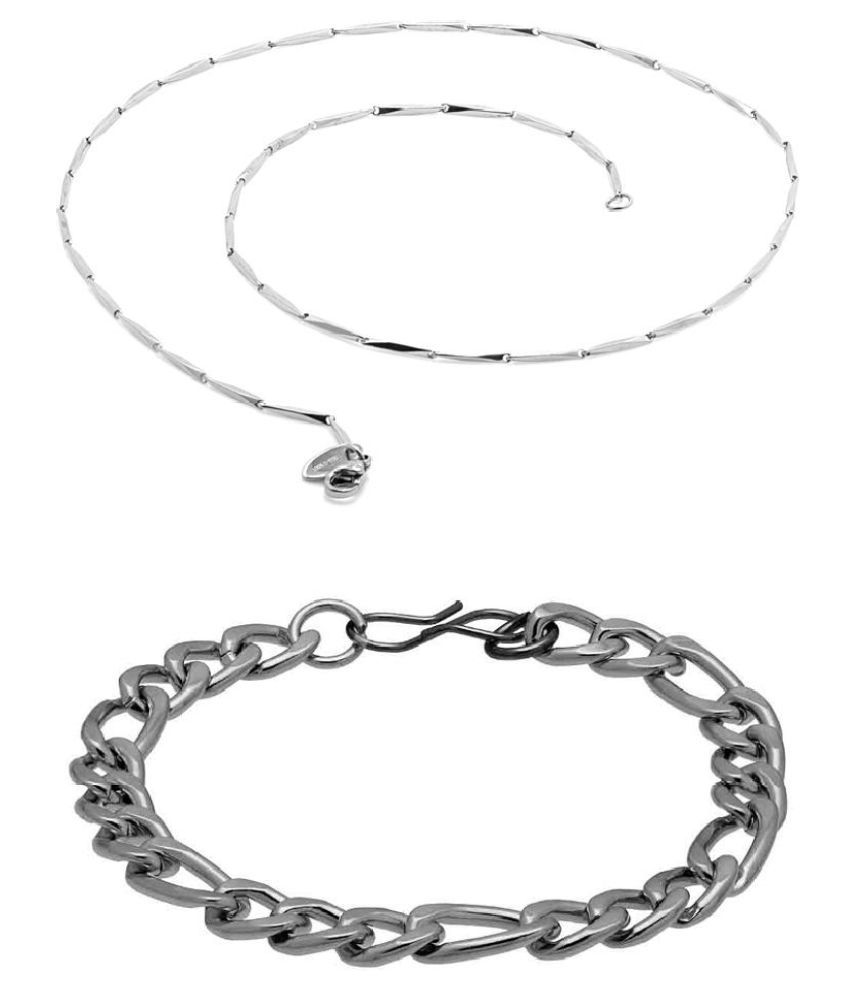 Voylla Pack Of 2 Designer Chain And Bracelet With Silver Tone