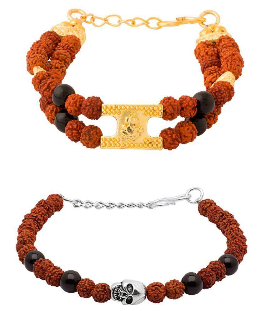 Voylla Rudraksha StuddedSet of 2 Bracelet