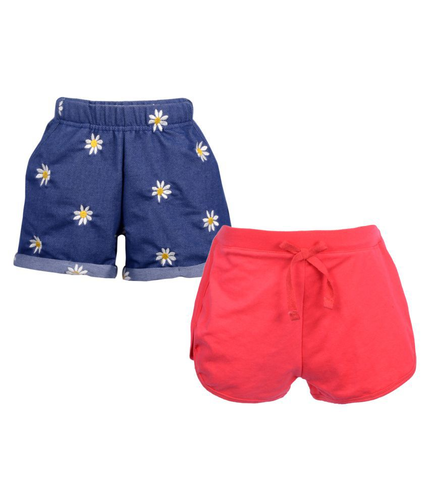 Gkidz Pack of 2 Girls Embroidered and Solid Shorts