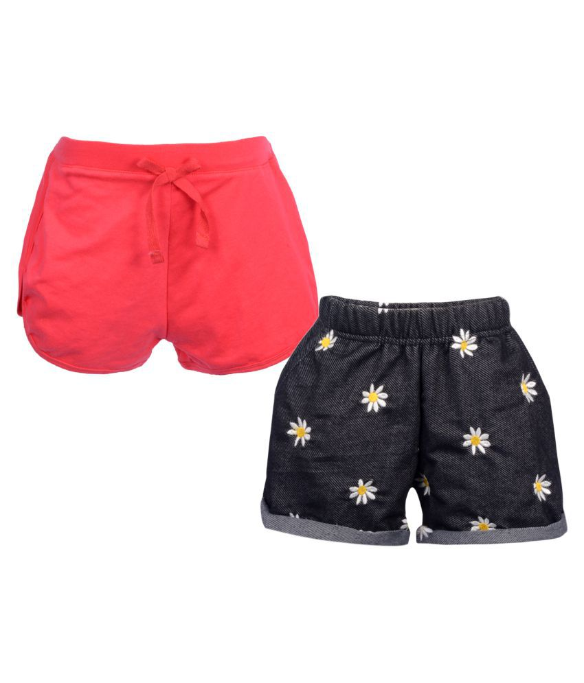 Teens Culture Pack of 2 Girls Embroidered and Solid Shorts