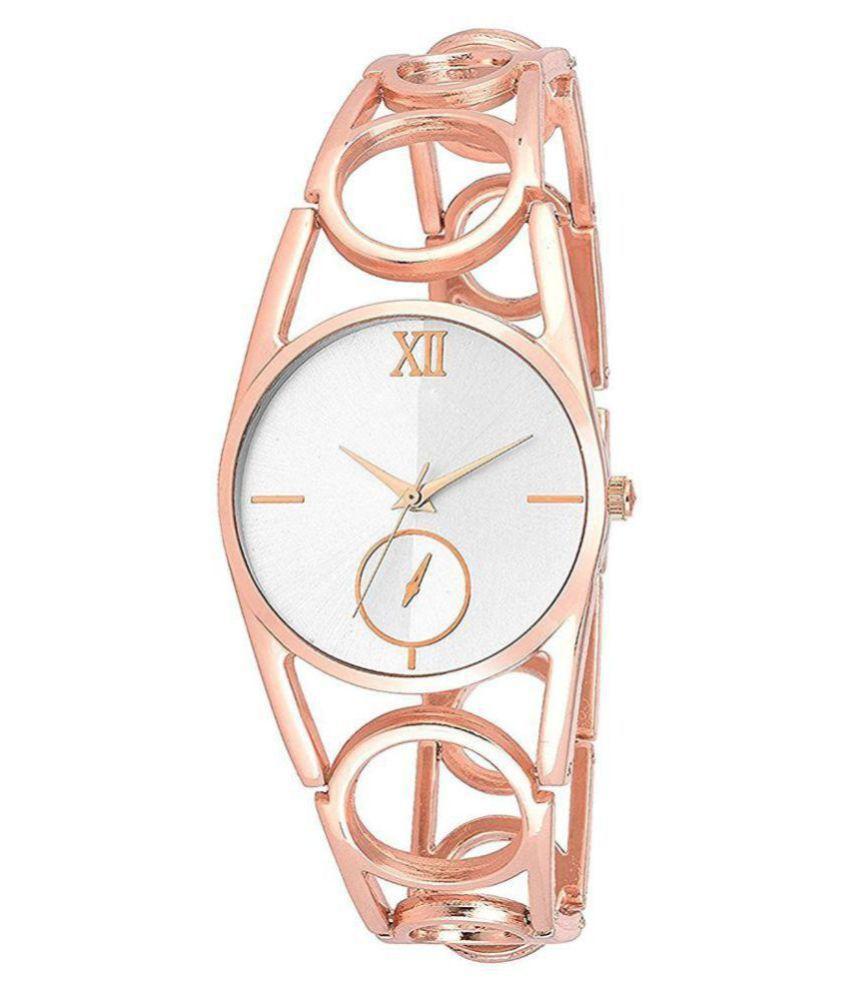 Rose Gold Diamond Studded Metal Bracelet Analog Watch For Girls & Women
