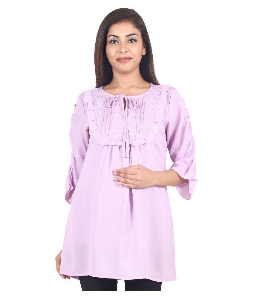 9teenAGAIN Chiffon Maternity Wear Purple Tunics