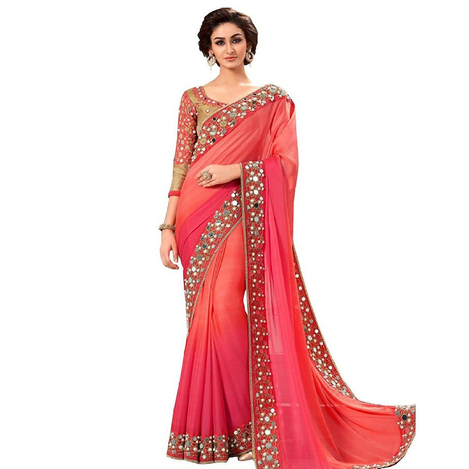 5e1d15126d THE SUHAGIYA SHOPPING Red and Pink Georgette Saree - Buy THE SUHAGIYA  SHOPPING Red and Pink Georgette Saree Online at Low Price - Snapdeal.com
