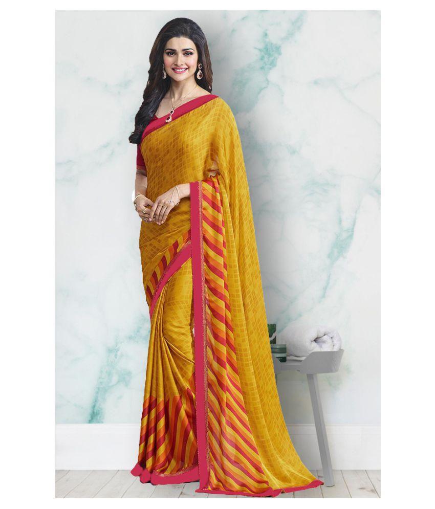 Lajree Designer Yellow Chiffon Saree