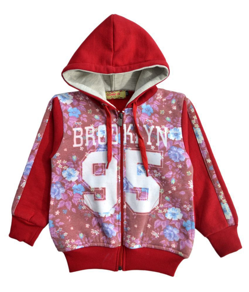 Come In Kids Girls Kids Full Sleeve Winter Wear Printed Sweatshirt