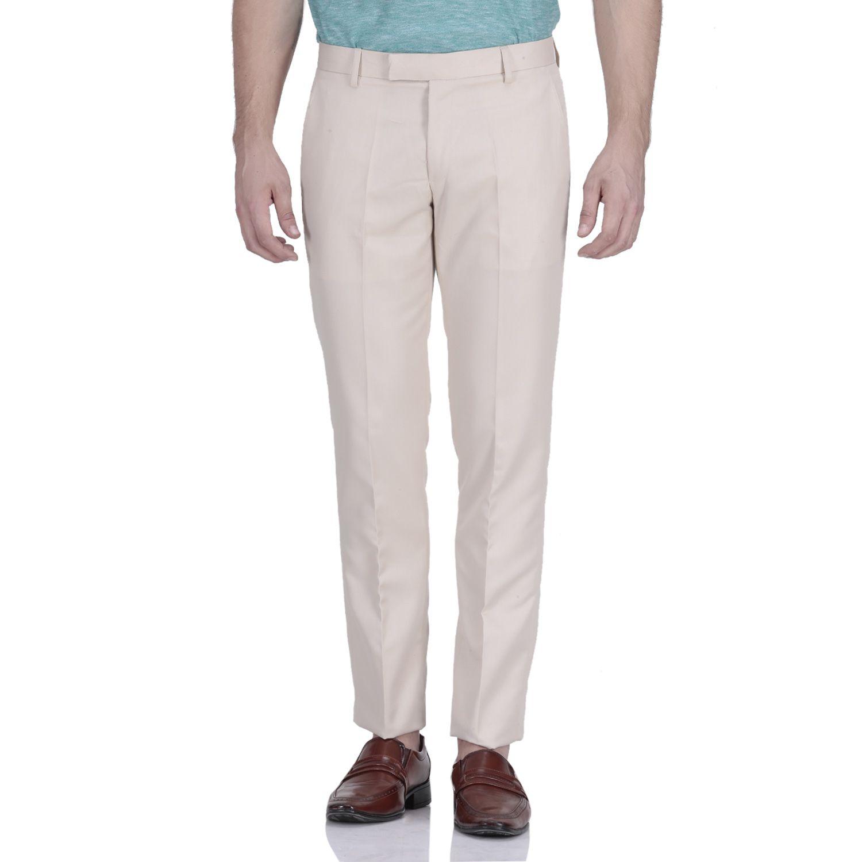 VANDNAM FABRICS Beige Slim -Fit Flat Trousers