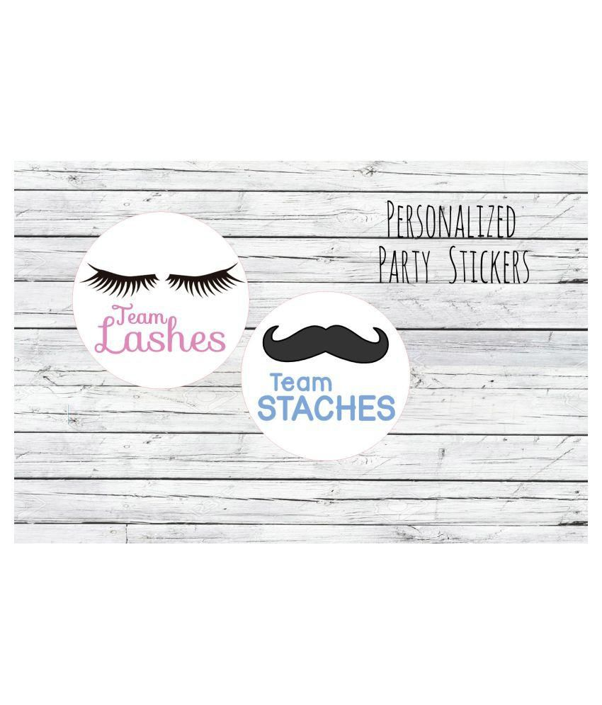 SWRA Lashes or Staches Gender Reveal Party Stickers Team Boy, Team Girl,  Baby Shower Voting, Favor Tags, Labels set of 30