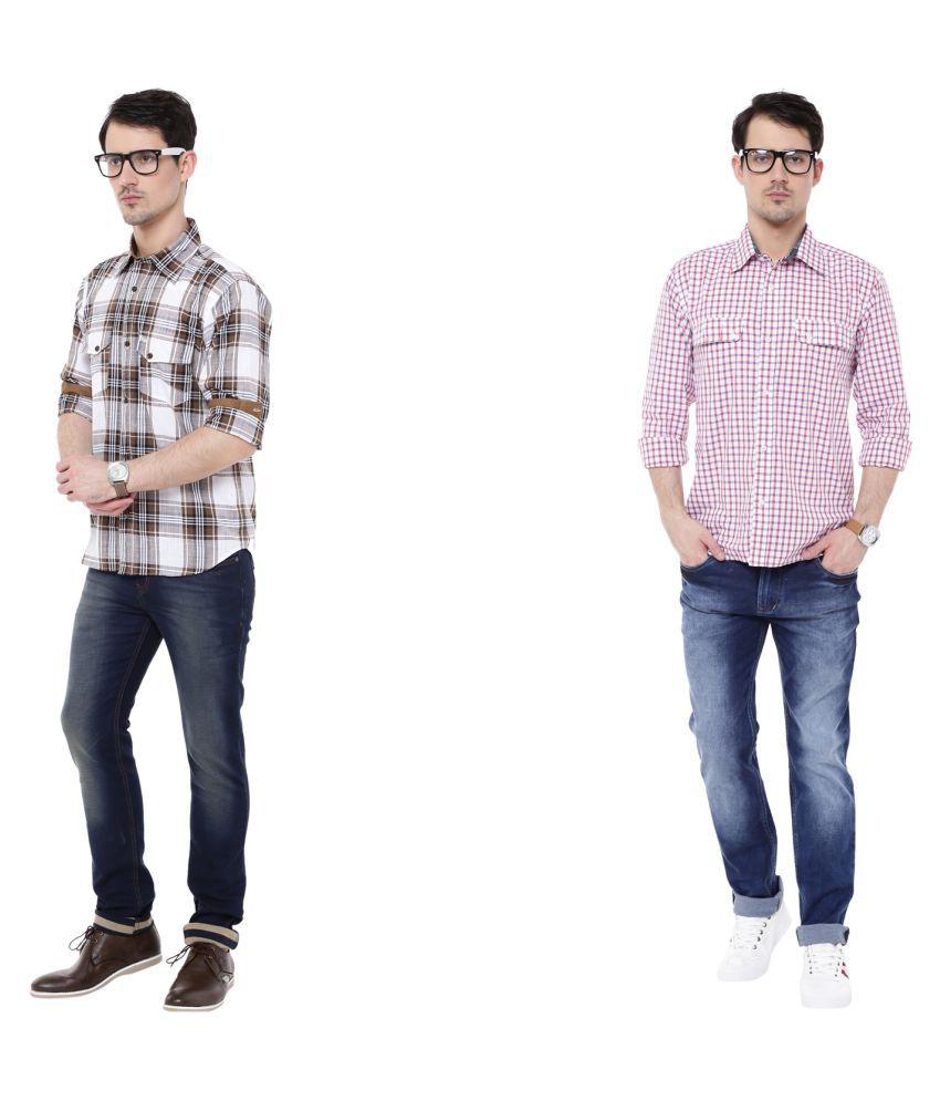 5EM Multi Slim Fit Shirt Pack of 2