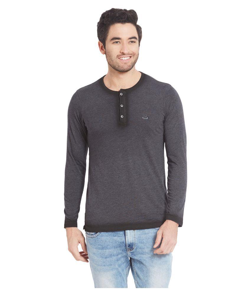 Spykar Grey Henley T-Shirt Pack of 1
