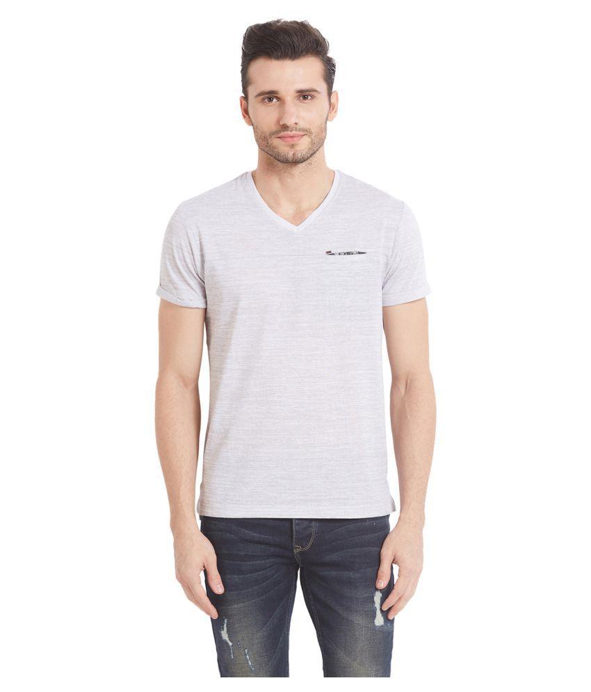 Spykar Grey V-Neck T-Shirt Pack of 1