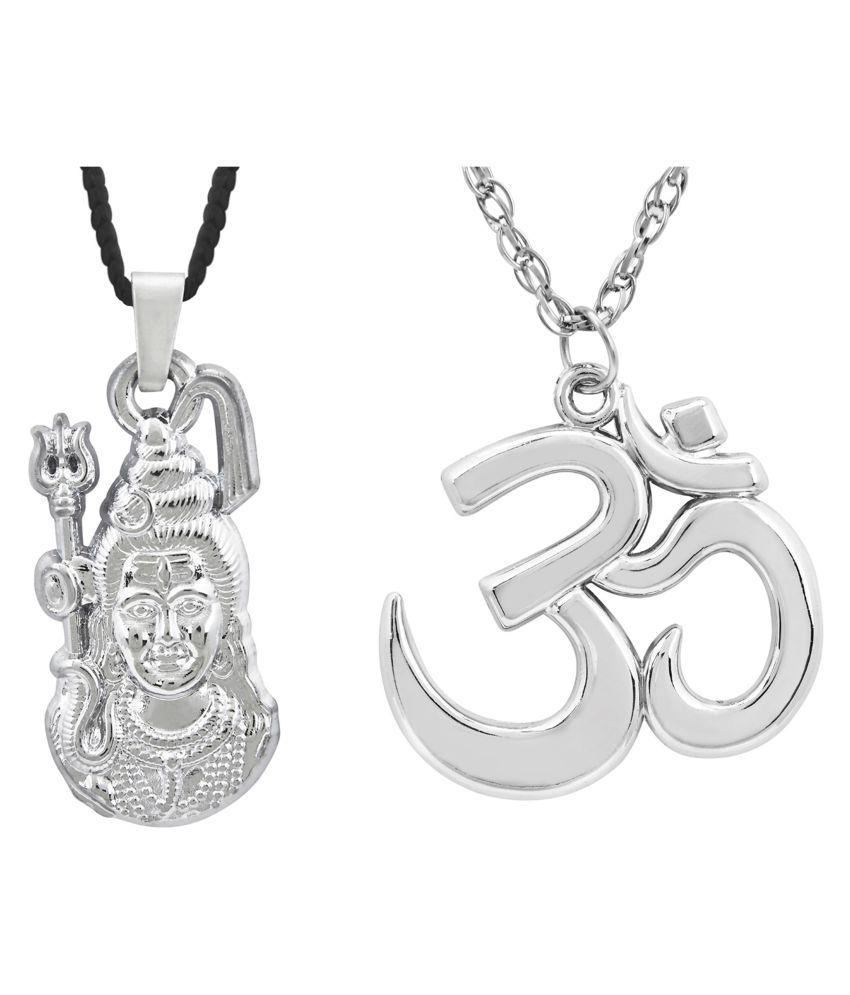 Shining Jewel Shiva Om Pendant Combo Necklace For Men (SJPC_99)