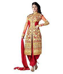 VastraParidhan Red Georgette Dress Material