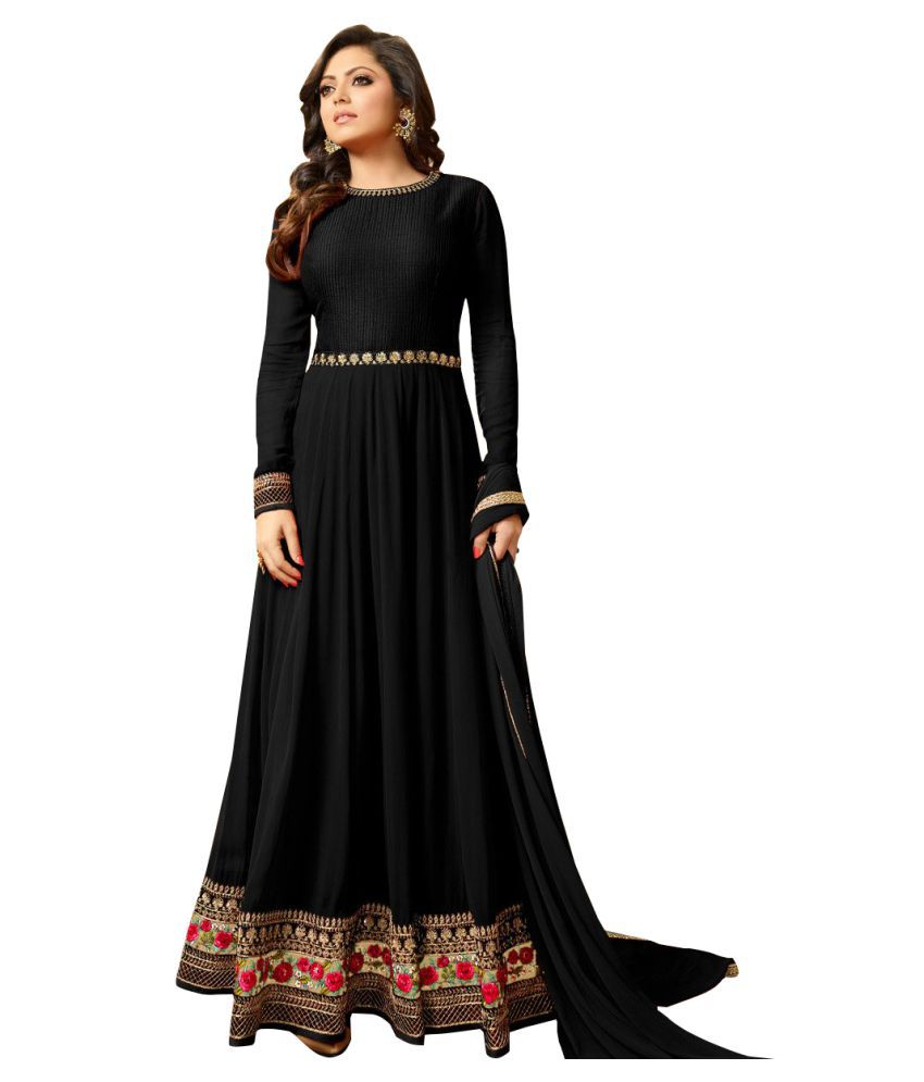 Multi Retail Black Georgette Dress Material