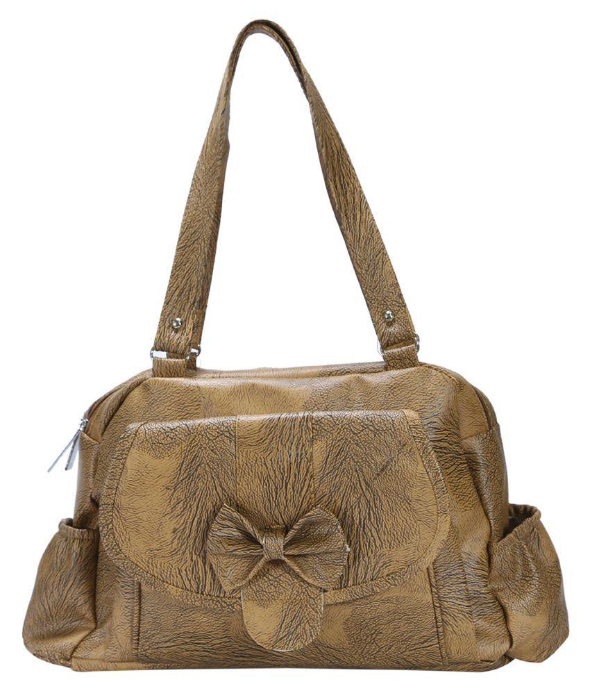 Desence Brown Faux Leather Shoulder Bag
