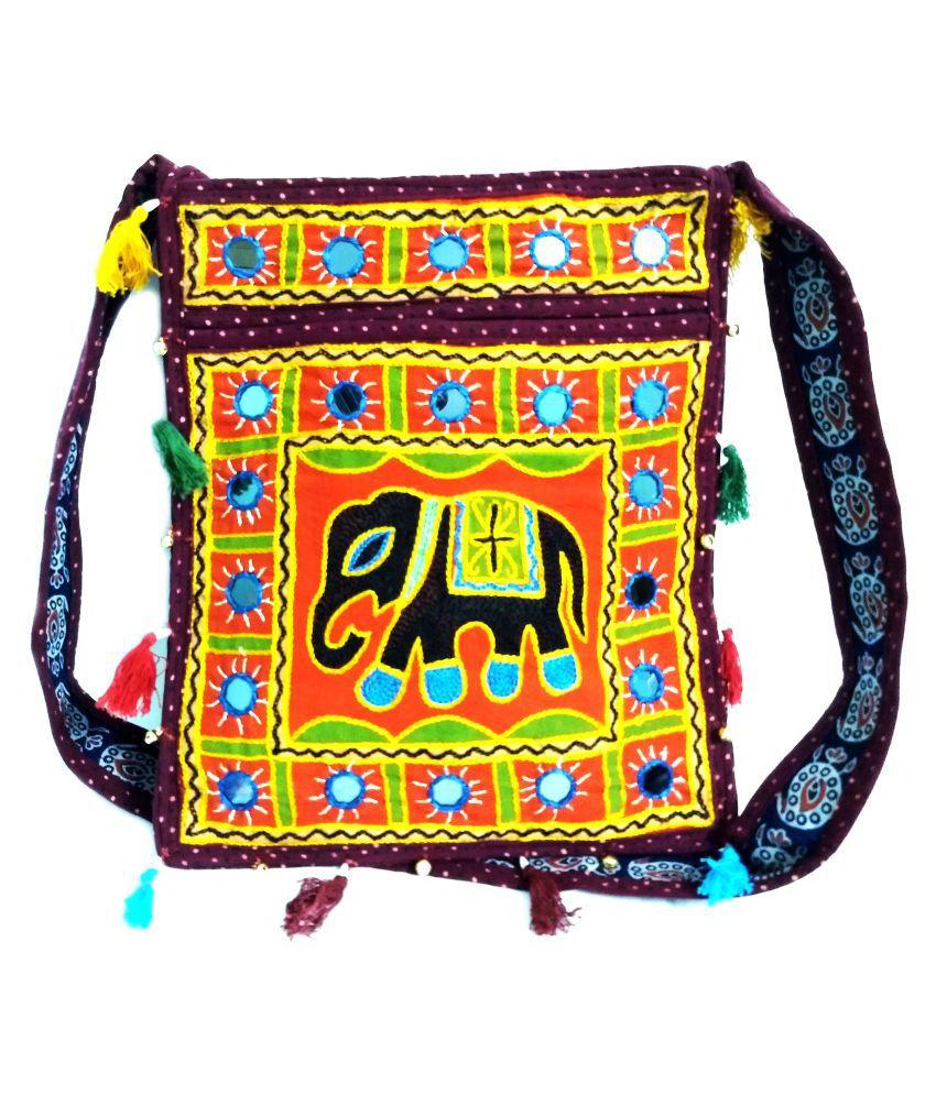 Now-N-New Orange Cotton Shoulder Bag