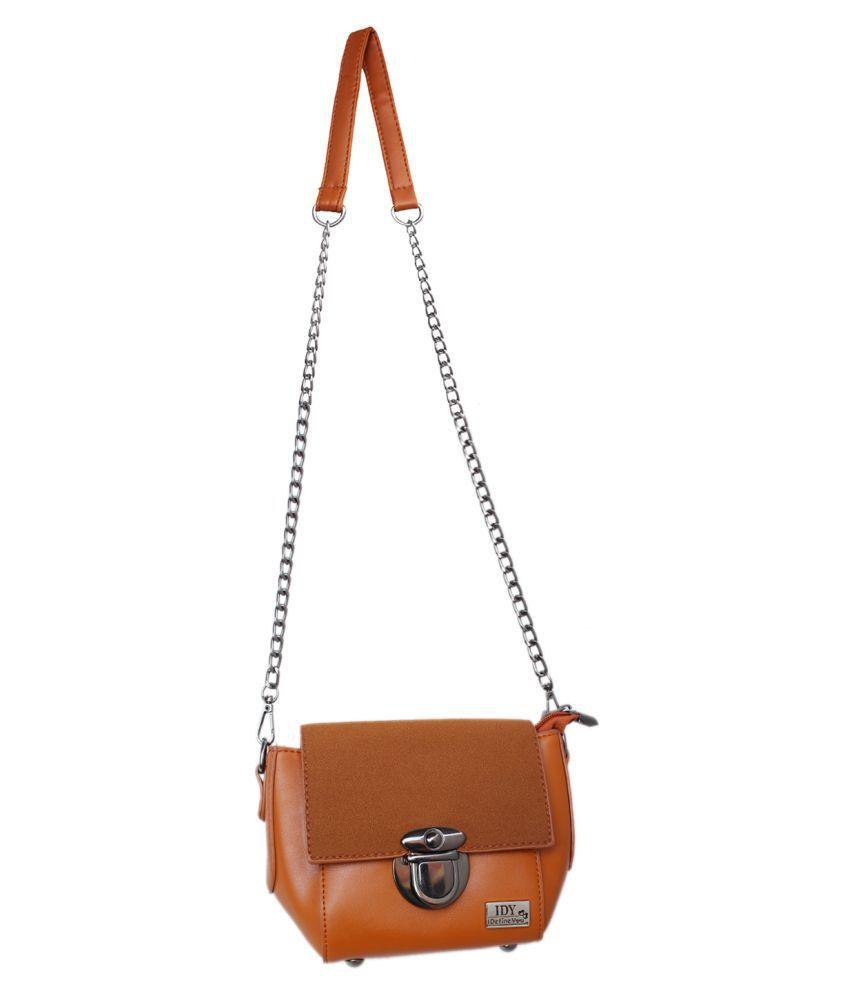 Anglopanglo Tan Artificial Leather Sling Bag