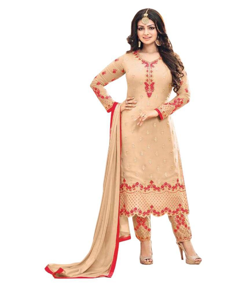 Indianefashion Beige Georgette Straight Semi-Stitched Suit