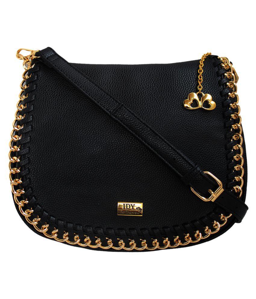 Anglopanglo Black Artificial Leather Sling Bag