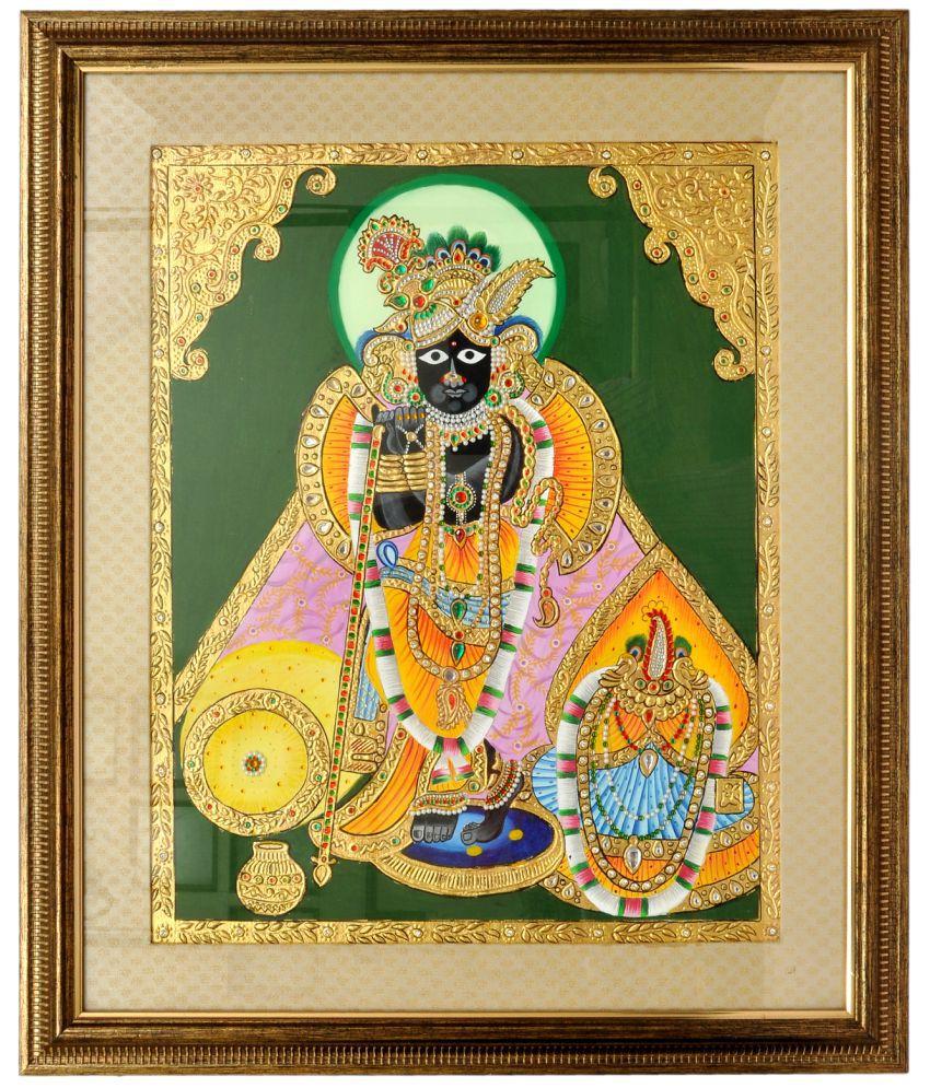 KTX Banke Bihari ji (Tanjore Painting) Fabric Painting Without Frame