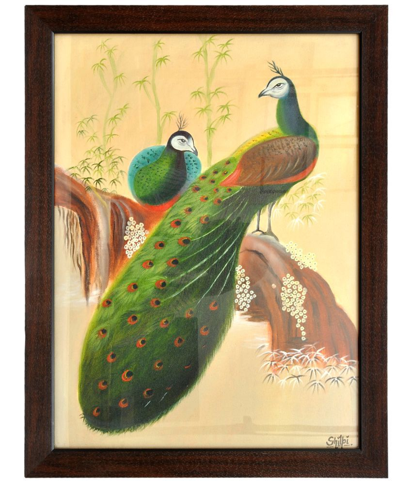 KTX Peacock (Oil Painting) Fabric Painting Without Frame
