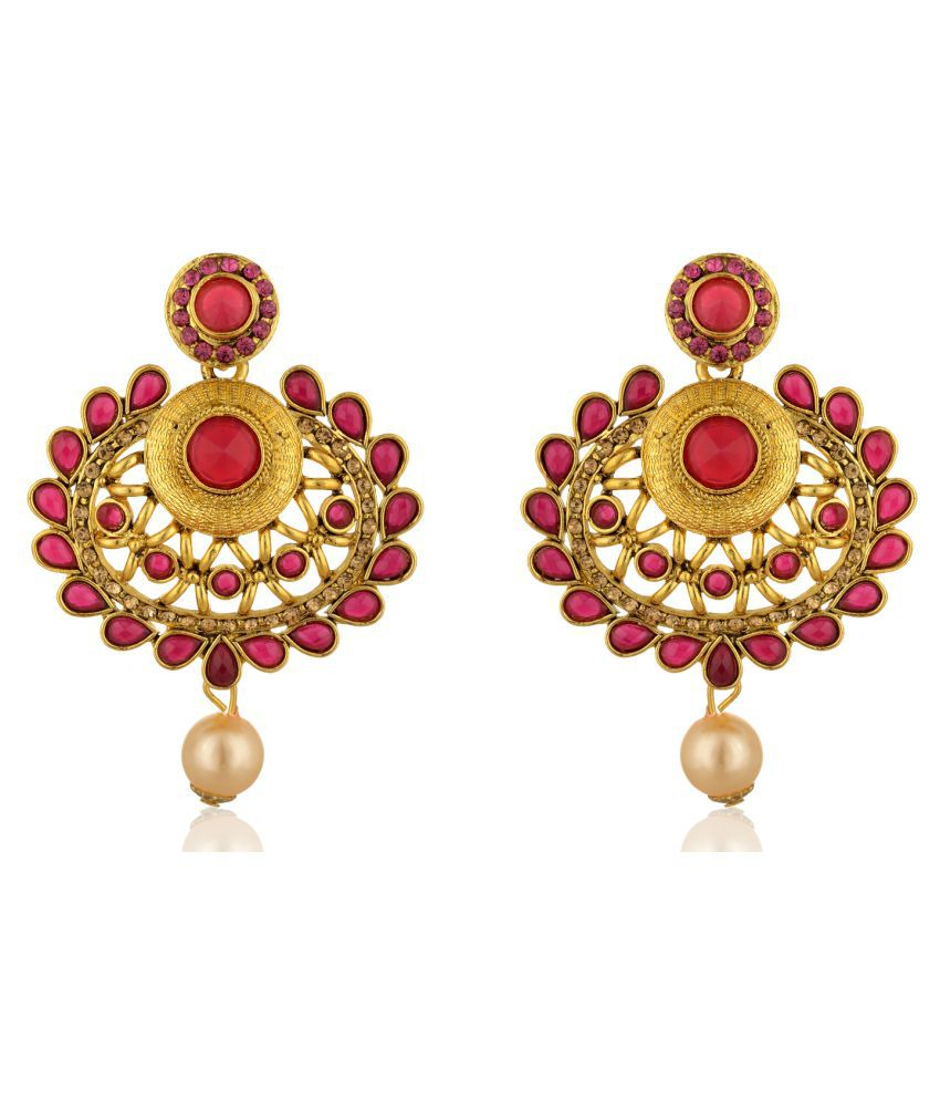 Fab Jewel Fashionable Gold and Red Alloy Dangle and Drop Earrings for Women