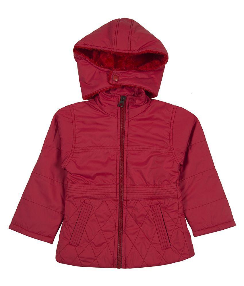 Zoravie Girl's Polyester Full Sleeves Solid Jacket - Red
