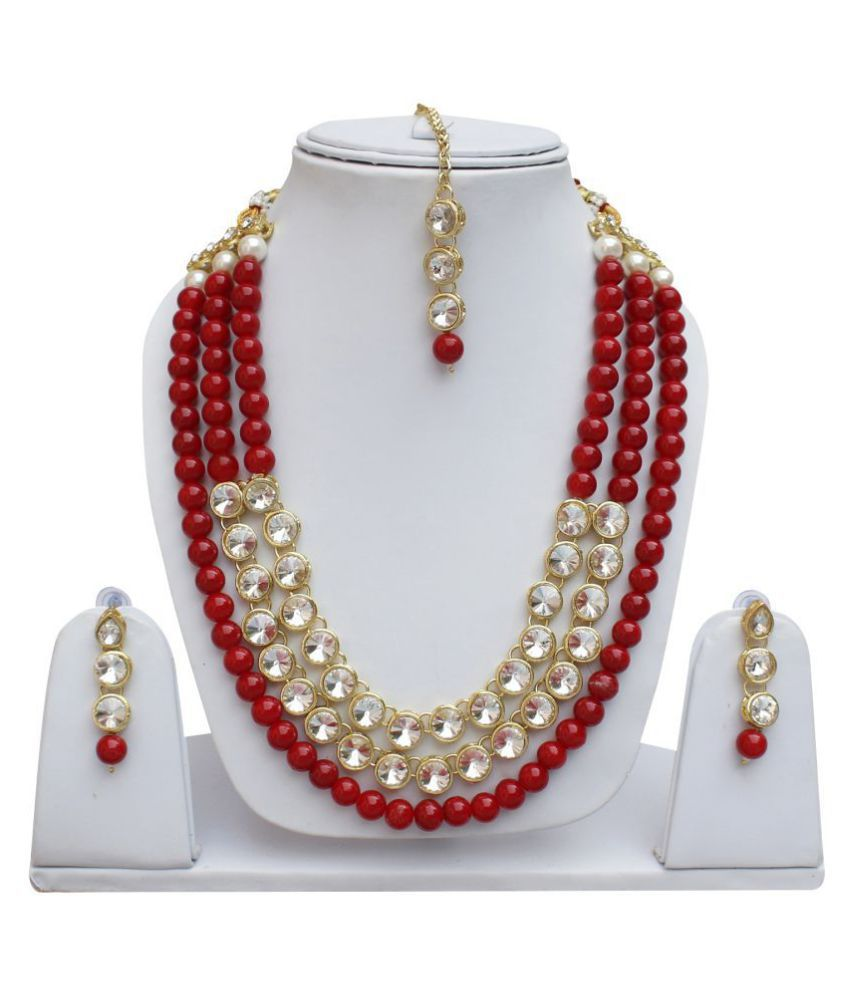 Lucky Jewellery Trendy Red Color Pearl Layered Stone Necklace Set For Girls & Women