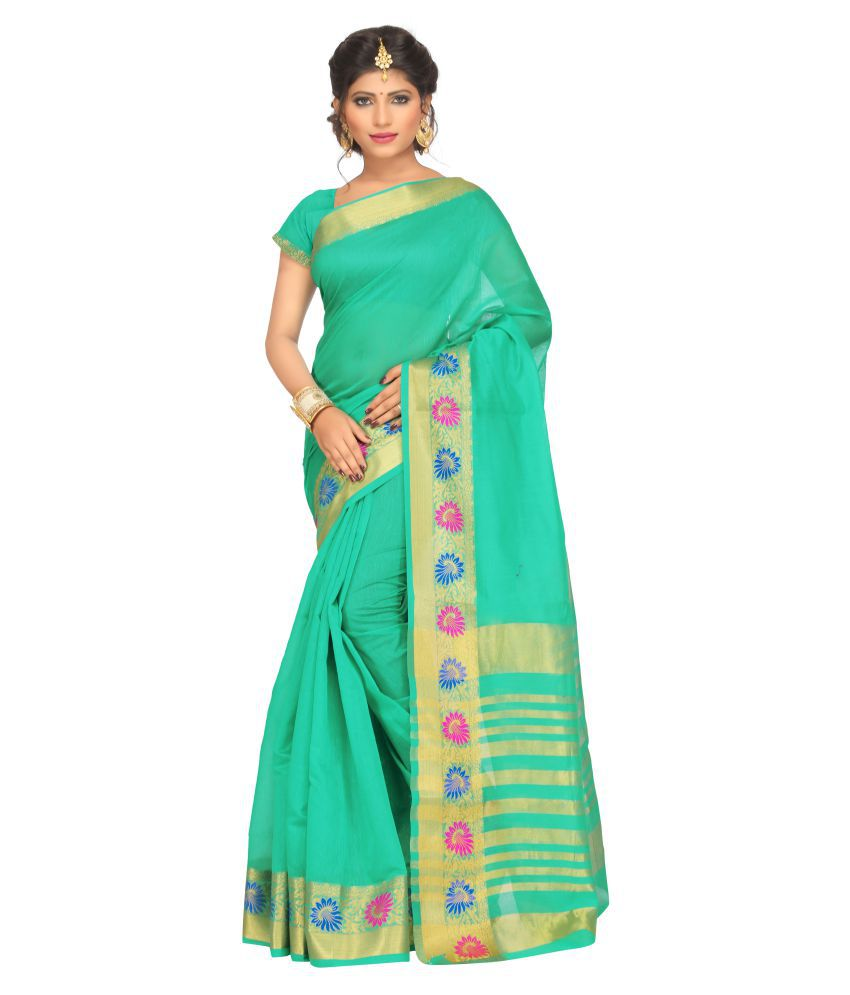 Just Fashion Green and Beige Cotton Saree