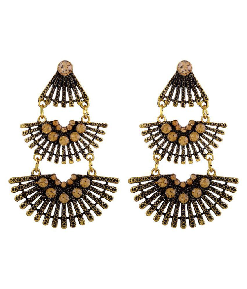 Asmitta Dazzling Dangle Gold Plated Trible Muse Stylish Earring For Women