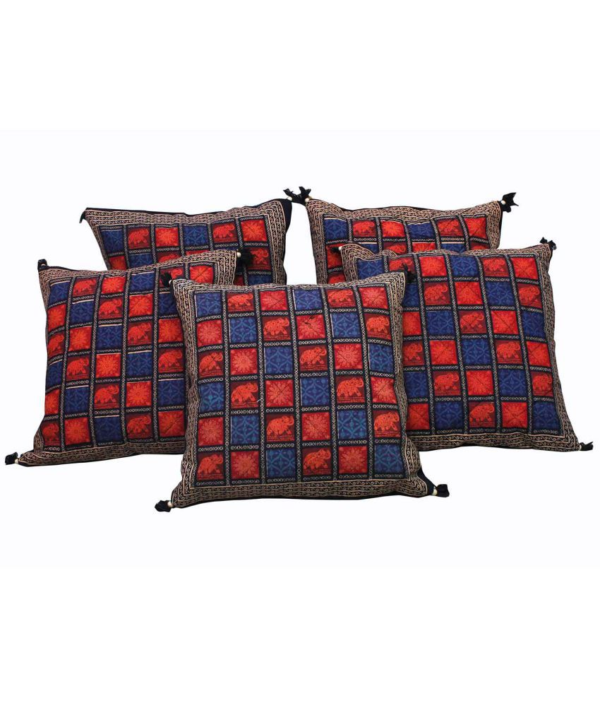 Halowishes Set of 5 Cotton Cushion Covers 40X40 cm (16X16)