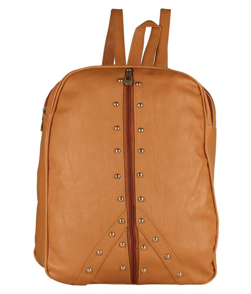 Maeva Tan Faux Leather Backpack