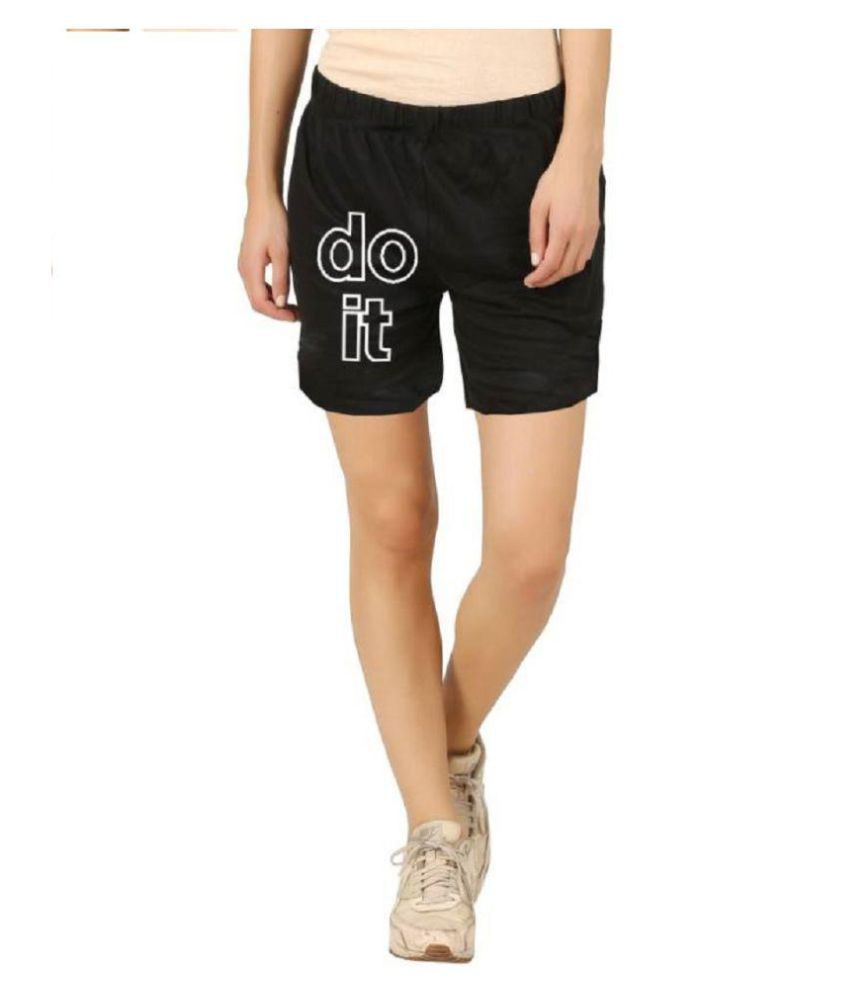 Hotfits Graphic Print Women's Black Basic Shorts