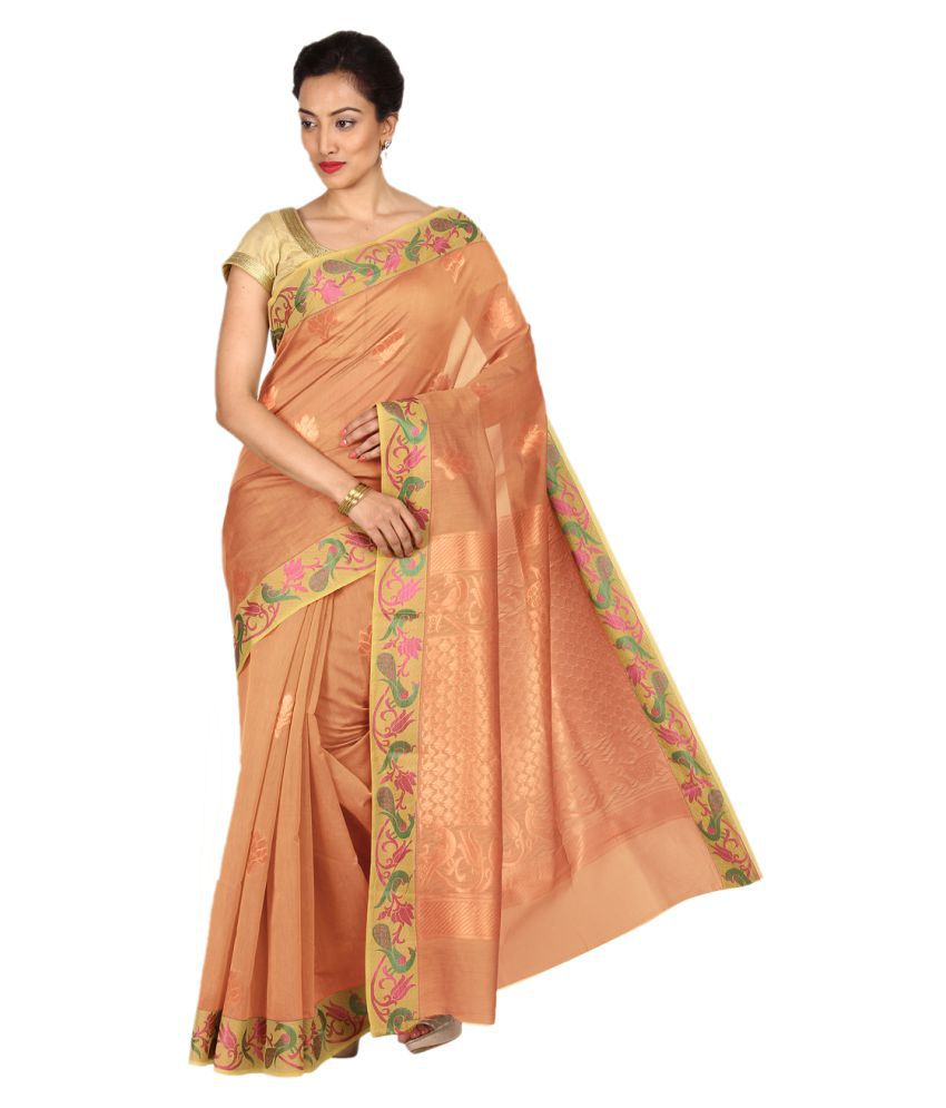 Pratami Peach Silk Saree