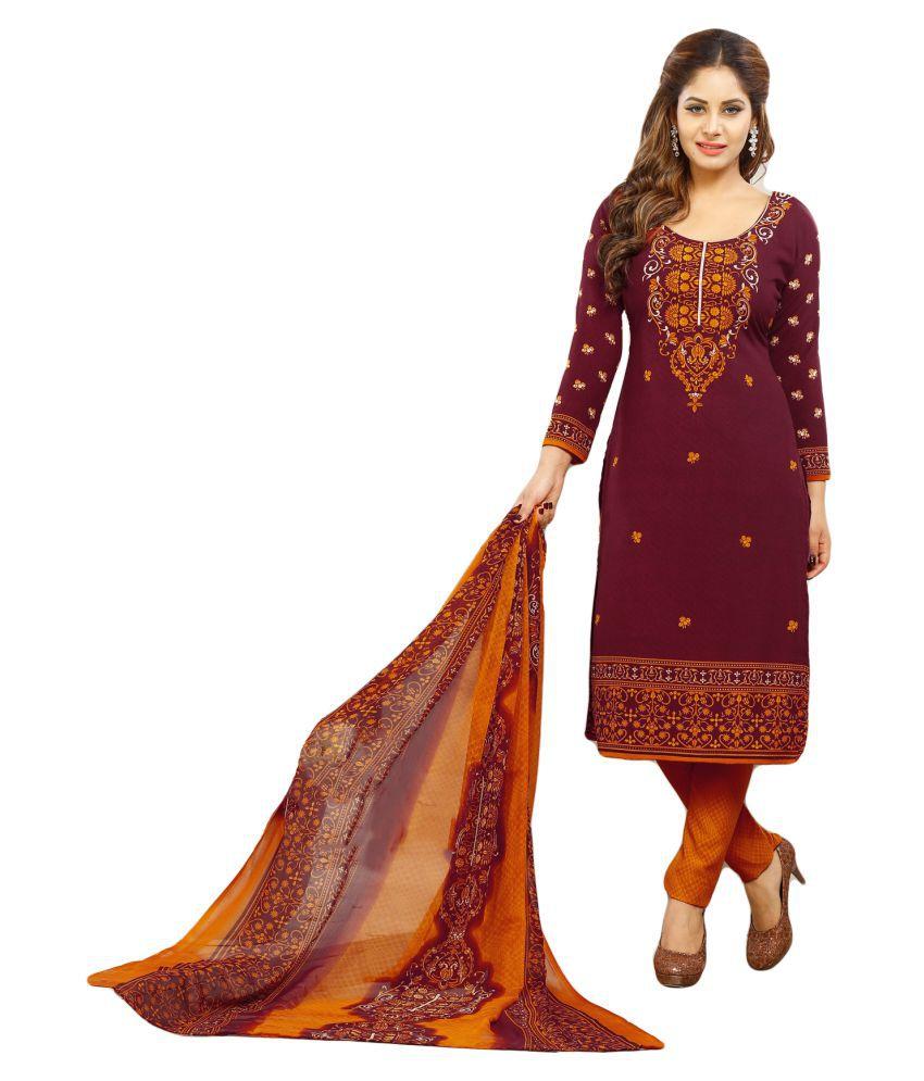 Salwar Studio Brown and Purple Synthetic Dress Material