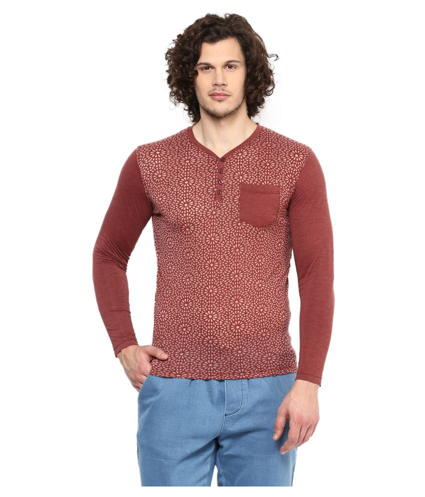 Wear Your Mind Maroon Henley T-Shirt Pack of 1