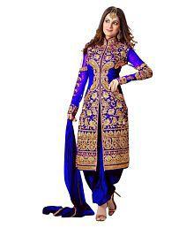 VastraParidhan Blue Georgette Dress Material