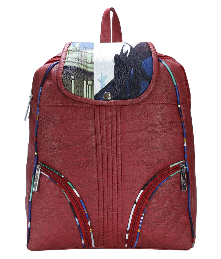 Desence Red Faux Leather Backpack