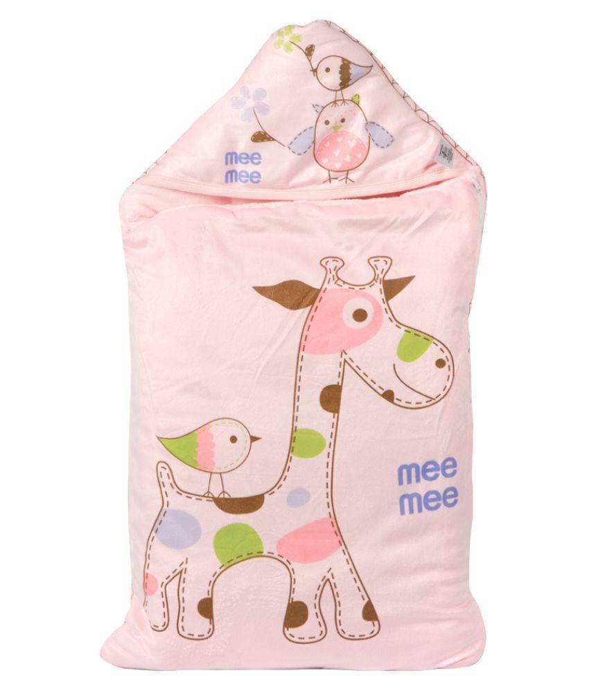 Mee Mee Pink Cotton Baby Wrap cum blanket ( 40 cm × 3 cm - 1 pcs)
